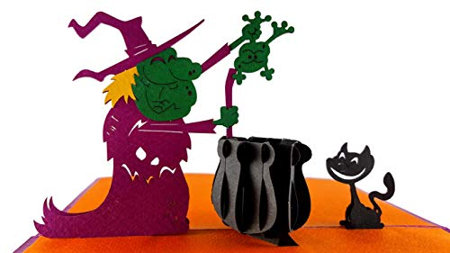 iGifts And Cards Spooky Witch and the Black Cat 3D Pop Up Greeting Card - Halloween, Meow, Kitten, Hat, Magic, Frog, Scary, Spooky, Brew, Half-Fold, Fun, Surprise, Special Occasion, Hot Love Potion