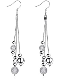 Fashion Earrings Sterling Silver Plated Pin Bead Pendant Dangling Drop Earrings For Women Girls (Beads)
