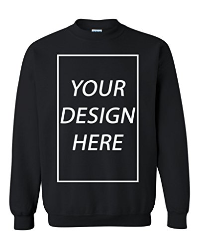 Add Your Own Text Design Custom Personalized Crewneck Sweatshirt (Large, Black)