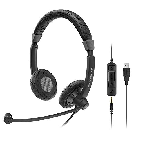 (Sennheiser SC 75 USB MS (507086) - Double-Sided Business Headset | For Skype for Business, with Mobile Phone, Tablet, Softphone, and PC | HD Sound & Noise-Cancelling Microphone (Black))