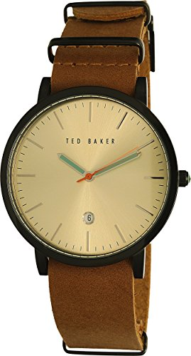 Ted Baker Men's 'Smart Casual' Quartz Stainless Steel and Leather Dress Watch, Color:Beige (Model: 10026443)