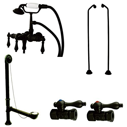 Downspout Shower Package - Kingston Brass CCK19T5B Vintage Down Spout Wall Mount Claw Foot Faucet Package, Oil Rubbed Bronze