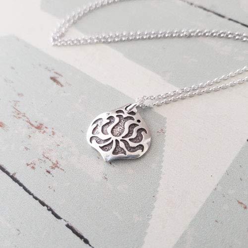 Destiny Lotus Flower Charm Oxidized Sterling Silver Necklace