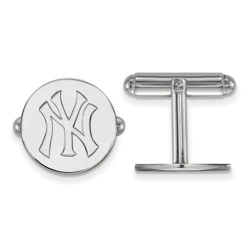 Rhodium-Plated Sterling Silver MLB New York Yankees Round Cuff Links, 15MM by The Men's Jewelry Store (Image #2)