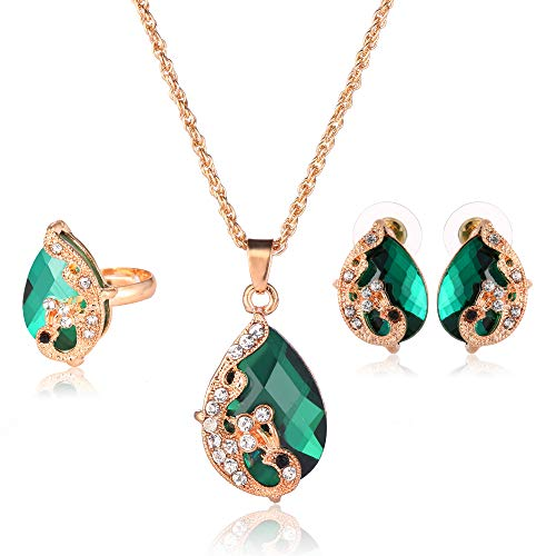 Ezing Women's Gold Plated Teardrop Crystal Necklace, Rings and Earrings Jewelry Set (green)