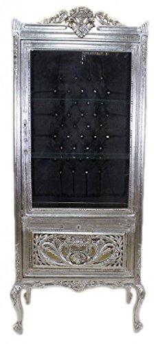 Casa Padrino Barock Vitrine Silber / Schwarz - Vitrinenschrank - Wohnzimmerschrank Glasvitrine