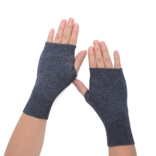 Flammi Women's Knit Half Fingerless Gloves Cashmere Mittens Warm Thumb Hole Gloves (Dark Grey)