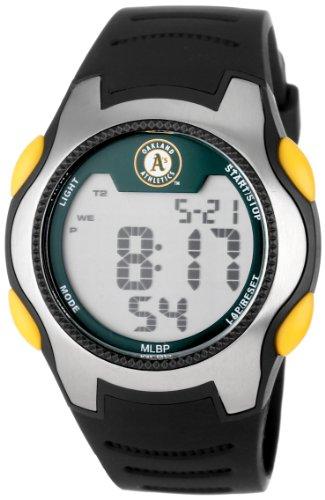 Game Time Men's Quartz Metal and Polyurethane Casual Watch, Color:Black (Model: MLB-TRC-Oak) - Oakland Athletics Dart