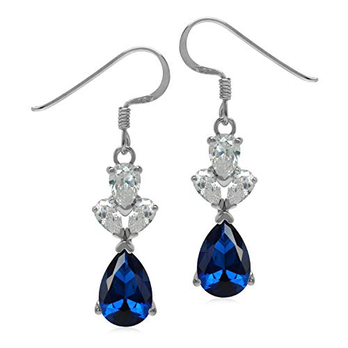 Silvershake 3.5 CT Synthetic or Created Blue Sapphire 925 Sterling Silver Evening Dangle Earrings ()