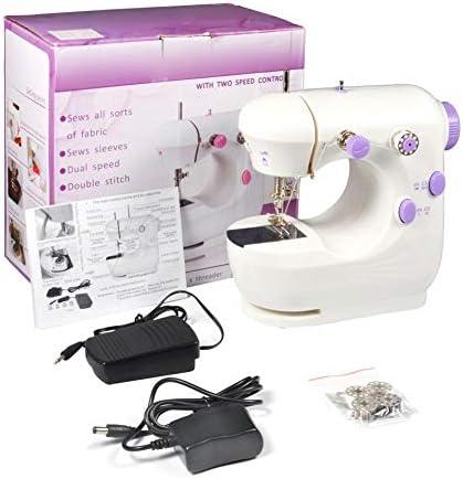 Máquina de coser, Mini multifunción púrpura herramientas de coser eléctricas portátiles profesionales de doble ...
