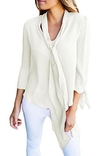 HARDKING Stylish Casual Bow-tie Long Sleeved Blouse with Necktie V Neck Blouse Tops For Women