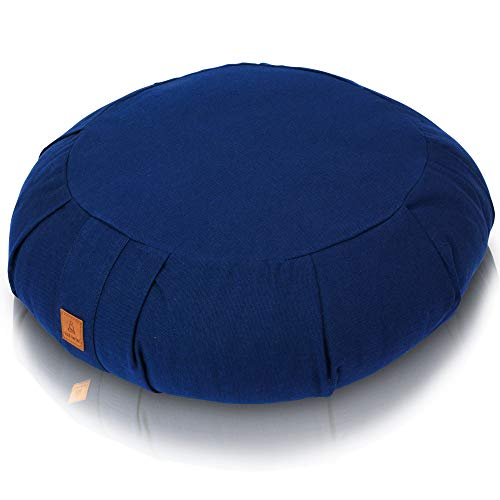 Zafu Meditation Cushion - Round Buckwheat Yoga Pillow | 7 Colors | Zippered Organic Cotton Cover & Liner to Add or Remove Hulls | Machine Washable | Carrying Handle & GOTS Certified - Navy