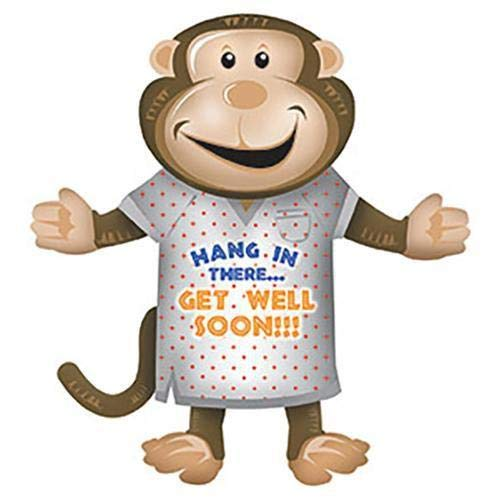 Balloon Party Get Well - CTI Foil Balloon 435010 GET WELL MONKEY SHAPE, 36