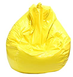 Gold Medal Bean Bags Tear Drop Wet Look Vinyl Bean Bag, Large, Yellow