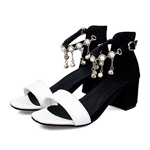 AgooLar Women's Open Toe Buckle Pu Assorted Color Kitten Heels Sandals White meSg6i