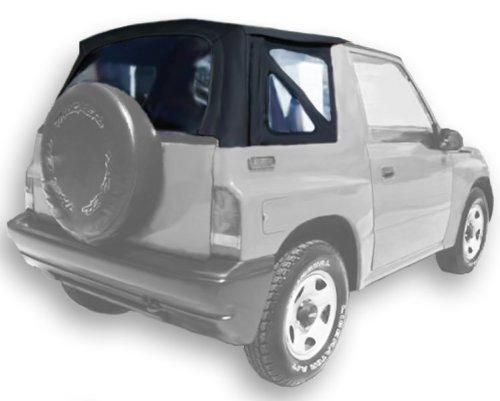 (Acme C729A/Clear-SF848 Black on Black Stayfast Cloth SUV Soft Top for Suzuki Sidekick / Geo Tracker)