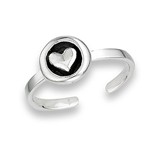 Welman Sterling Silver Heart In Circle Adjustable Toe ()