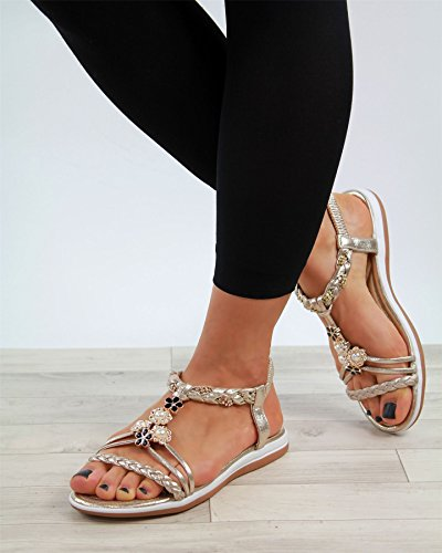 Gold verschönert On Größen Larena Womens Schuhe bequeme Sandalen Ferse New Slingback Fashion Slip Light Niedrige 4z6Yq