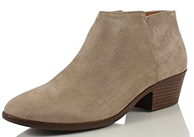 Soda Women's Round Toe Faux Suede Stacked Heel Western Ankle Bootie