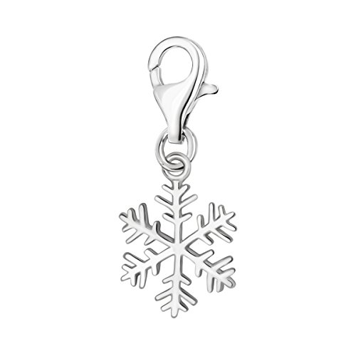 (Quiges 925 Sterling Silver 3D Winter Snowflake Lobster Clasp Charm Clip on Pendant)