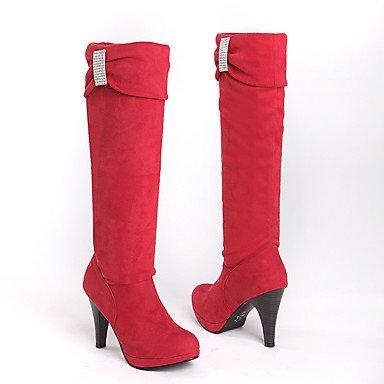 Botas de Mujer Otoño Invierno Comfort polipiel vestido talón cono hebilla de color rojo marrón gris negro caminando Black