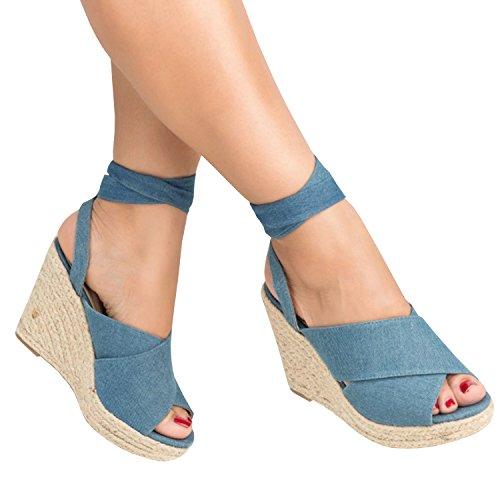 Runcati Womens Espadrille Wedge Platform Peep Toe Sandal Lace Up Summer Ankle Wrap Shoes Slingback Dress Shoes