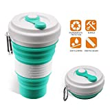 Collapsible Coffee Cup - iGreely Silicone Folding Cup/Mug Sport bottle with Lids