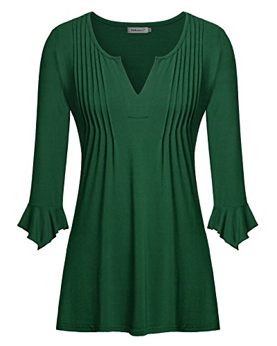 Helloacc Womens V Neck Basic Shirt Flattering Tunic Tops, Green, X-Large (Lined V-neck Tunic)