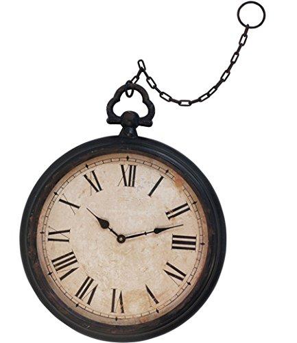 Split P Pocket Watch Clock, Black Metal with Glass