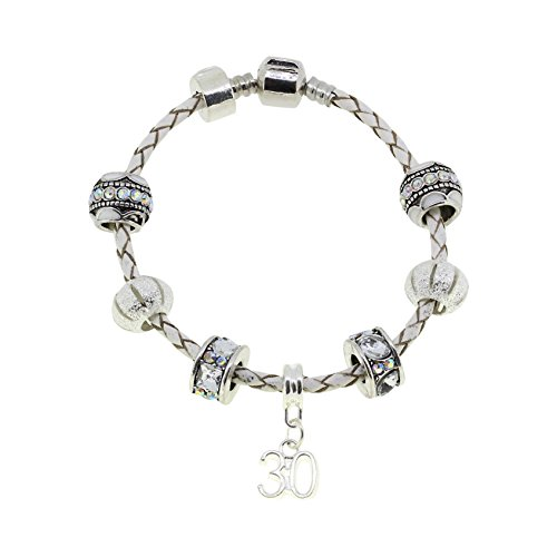 30th Birthday Leather Charm Bracelet European Style Gift Boxed (30th)
