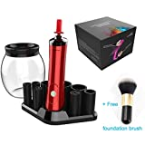 Big Clear On Sale! Electric Makeup Brush Cleaner and Dryer Machine - Automatic Cosmetic Brush Cleaning Tool - Fit All Size of Makeup Brushes with 8 Collars - 1PC Foudation Brush Give Away (red)