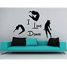 Three Dancer & I Love Dance Quote Wall Art Decals Adhesive Stickers Decorating Ideas For Living Room Dance Studio