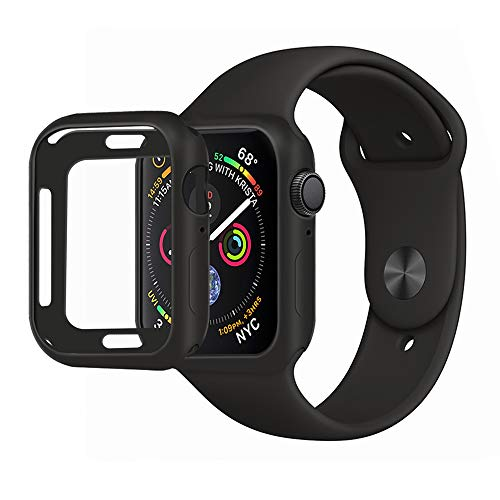 Black Silicon Case Screen - MENEEA for Apple Watch Series 4 Case Protector, Ultra-Thin Anti-Scratch Flexible Case Soft Protective Bumper Cover for New Apple Watch Series 4 44mm, Replacement for iWatch 4 case Black