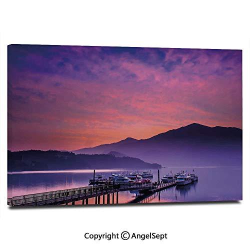 Modern Salon Theme Mural Asian Seashore in Nantou Taiwan Majestic Cloudy Sky Scenery Lake Boats Mountain Painting Canvas Wall Art for Home Decor 24x36inches, Pink Purple