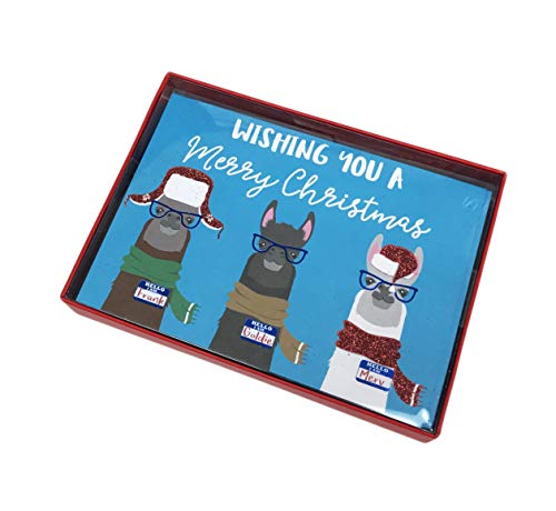 (Three Wise Llamas Frank Goldie & Merv Box of 16 Festive Christmas Holiday Greeting Cards & Coordinating Envelopes)