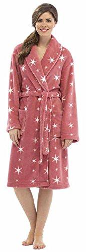 Ladies Nightwear Star Print forro polar cálido albornoz de túnica albornoz tamaños S-M–ln304 Red/Cream