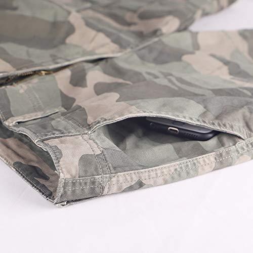 Muscle Alive Hommes Shorts Cargo Camping Randonnée Coupe Slim Camouflage Ancien 100% Coton 5