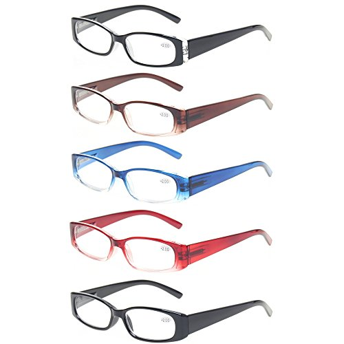 - Reading Glasses 5 Pack Men Women Flexible Spring Hinge Readers Includes Sun Readers (5 Pack Classic Color, 2.0)