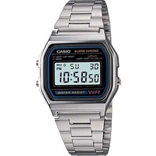 🥇 CASIO A158 – Reloj de Pulsera de Acero Inoxidable