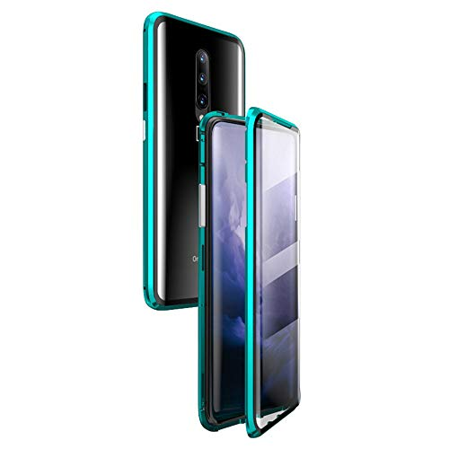 OnePlus 7 Pro Case,Magnetic Adsorption Case Clear Back Tempered Glass Full Screen Coverage Built-in Glass Screen Protector [Support Fingerprint ID] for OnePlus 7 Pro (Green, OnePlus 7 Pro)