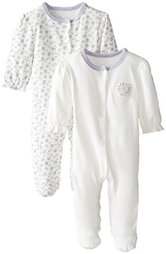 Rene Rofe Baby Baby Girls' Antique Floral 2 Pack Snap Front Coverall Set, Classic Beige/Gray, 3-6 Months ()