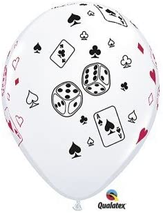 """5 x 11/"""" WHITE CARDS /& DICE LATEX BALLOONS"""