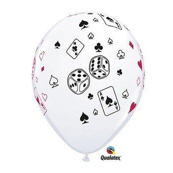 Casino Night Cards & Dice 11-Inch Latex Balloons, Qualatex 25 Per Pack