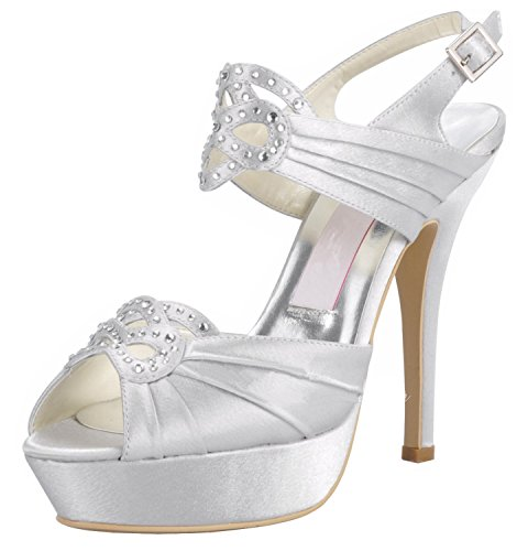 Kevin Fashion gymz708Ladies Plataforma Slingback satén zapatos de noche fiesta novia boda bombas sandalias flatfs blanco