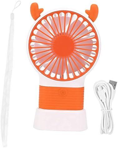ファンポータブル、かわいい鹿の形ポータブルデスクトップファンハンドヘルドファン3速風速調節USB充電ファンハンドヘルド(オレンジ)