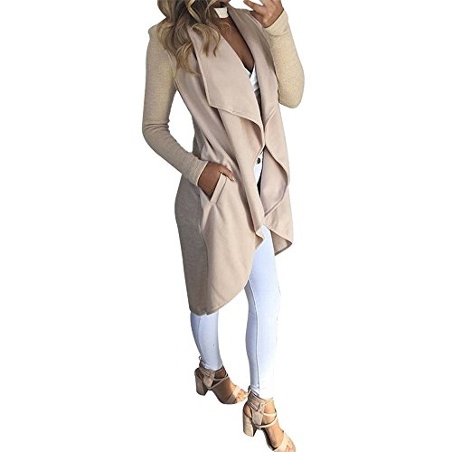 Toimoth Women's Long Sleeve Waterfall Asymmetric Drape Open Long Maxi Cardigan(Beige,L)