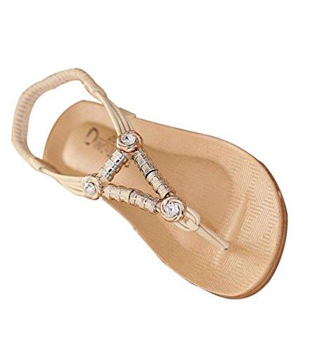 Yiiquan Mujer Sandalias Verano Bohemia Clip Dedo Del Pie Sandalias Con Cuentas Zapatos de Playa Estilo2 Beige