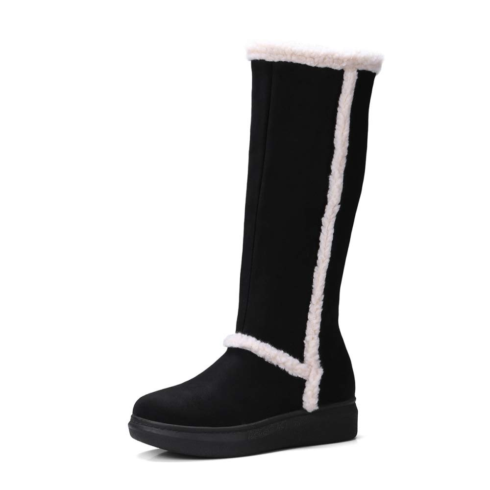 GAOQQ Autumn and Winter Flat Womens Boots Platform Suede High Snow Boots EU35.5-41,Black-CN35
