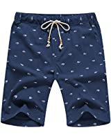 YTD Men's Linen Casual Classic Fit Short Summer Beach Shorts 3XL Navy