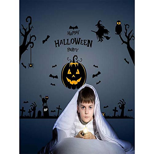 (Wadyx Art Decal Halloween Haunted House Spirit Pumpkin Light Wall Sticker Display Window Living Room Bedroom Home Decor)